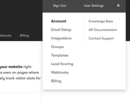 Screenshot of Drip Email dropdown settings menu