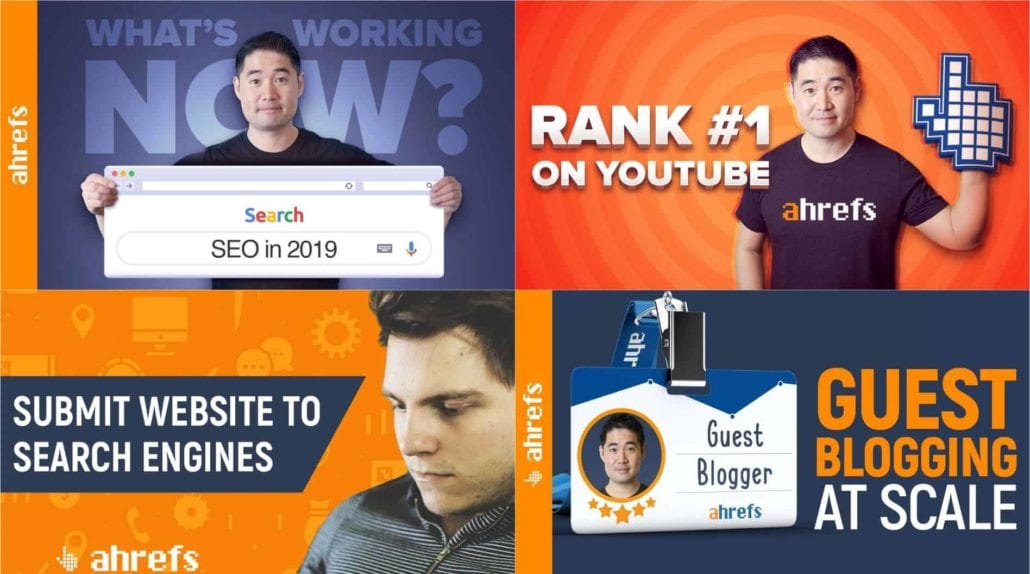Collage of four ahrefs thumbnails taken from YouTube videos — Sam Oh... what's working now in SEO 2019, Rank #1 on YouTube, Submit Website to Search Engines, Guest Blogging at Scale