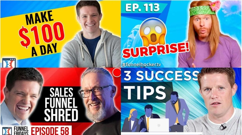 Collage of four ClickFunnels / Russell Brunson thumbnails taken from YouTube videos — Make $100 A Day, FunnelHacker.TV Ep 113 Surprise, Sales Funnel Shred Episode 58, 3 Success Tips
