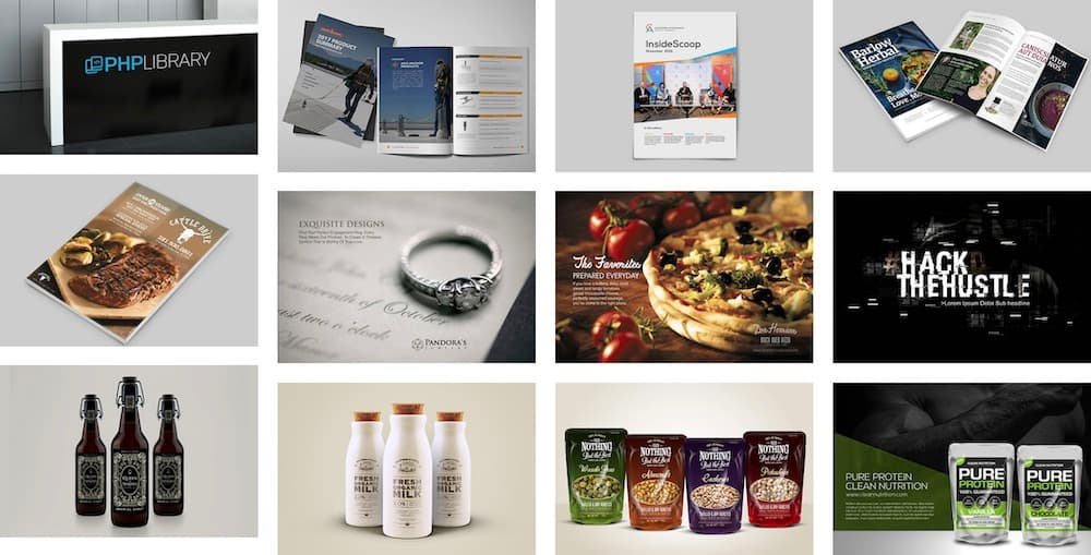 Website Screenshot—Design Seed Co. portfolio examples, product mockups, packaging, flyers, booklets, and social ads.