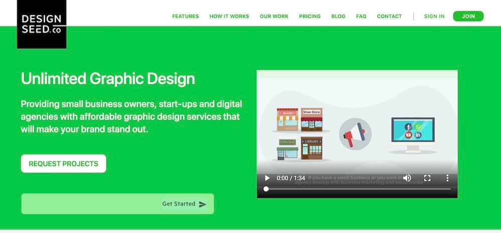 Website Screenshot—Unlimited Graphic Design with Design Seed Co.