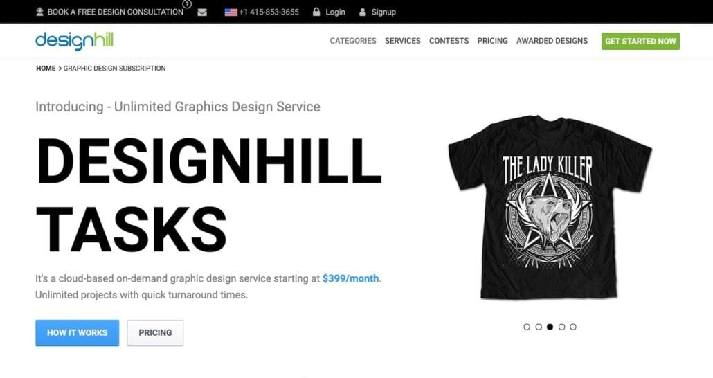 Website Screenshot—Introducing unlimited graphic design service, Designhill Tasks.