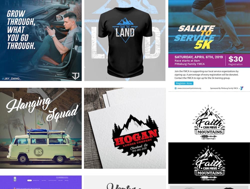 Website Screenshot—Portfolio examples, social media image, t-shirt design, flyers, web advertisement, log design.