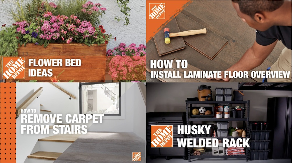 Collage of four The Home Depot thumbnails taken from YouTube videos — Flower Bed Ideas, How to Install Laminate Floor Overview, How to Remove Carpet from Stairs, Husky Welded Rack