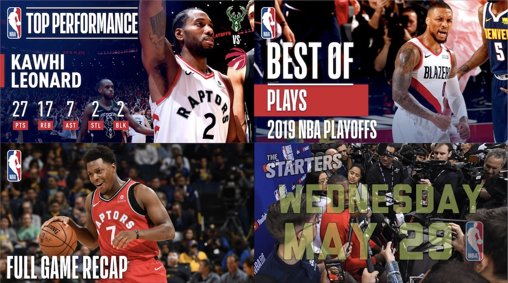 Collage of four NBA thumbnails taken from YouTube videos — Kawhi Leonard, Damian Lillard, Kyle Lowry