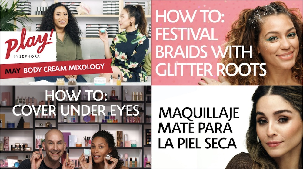 Collage of four Sephora thumbnails taken from YouTube videos — Body Cream Mixology, How to: Festival Brains with Giltter Roots, How to: Cover Under Eyes, Maquillaje Mate Para La Piel Seca