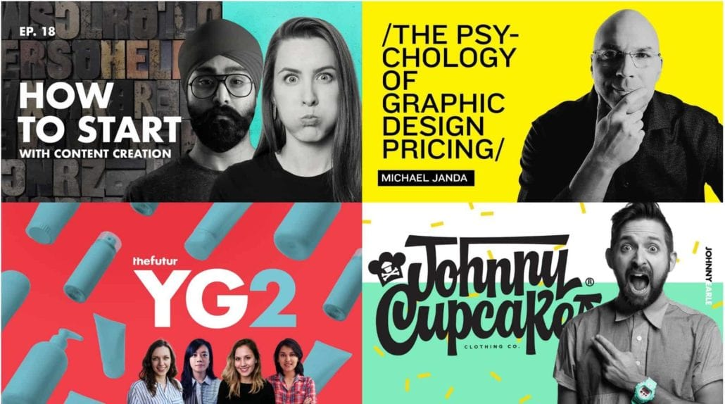 Collage of four The Futur thumbnails taken from YouTube videos — How to Start with Content Creation, The Psychology of Graphic Design Pricing, the futur yg2, Johnny Cupcakes clothing co