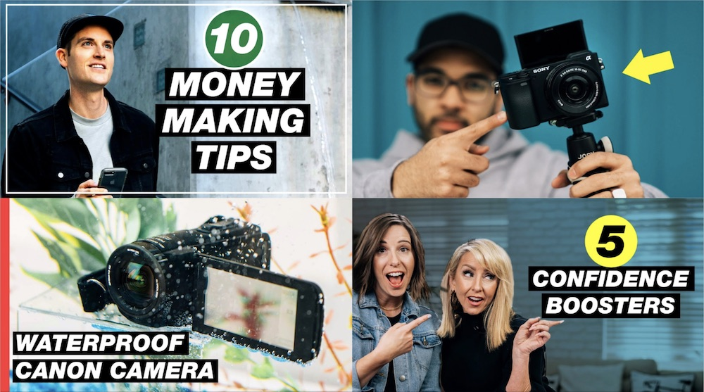 Collage of four Think Media thumbnails taken from YouTube videos — 10 money making tips, waterproof canon camera, 5 confidence boosters