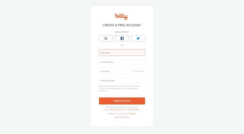 Screenshot — Create a free Bitly account