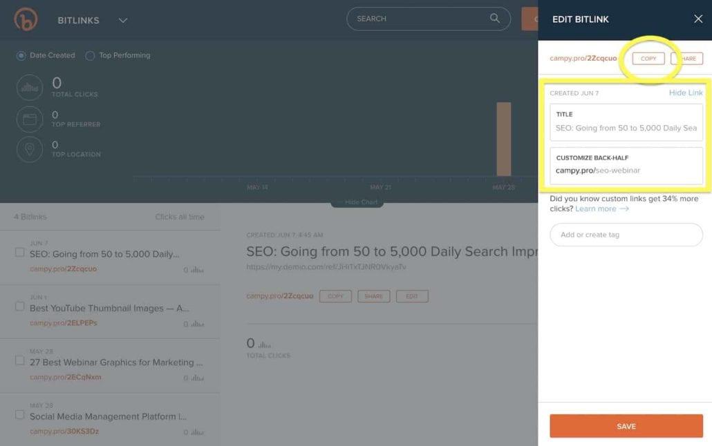 Screenshot — Bitly configurations, Title, Customize Back-Half