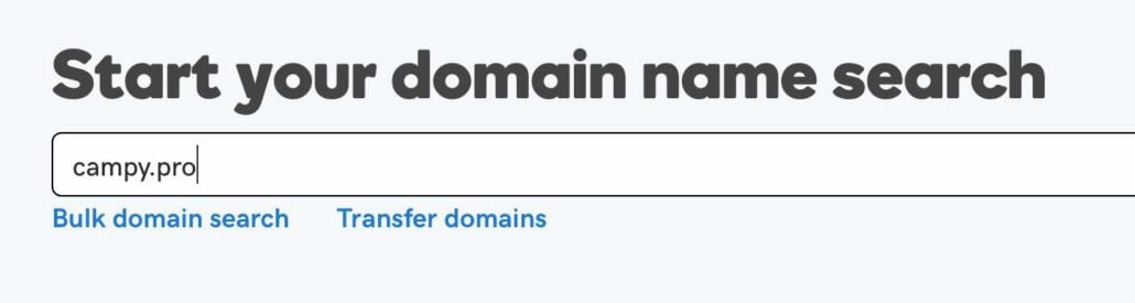 Godaddy screenshot — Start your domain name search, campy.pro