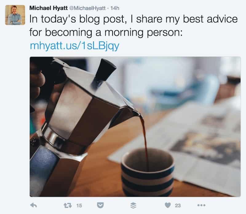 Michael Hyatt Tweet with Custom Short URL — mhyatt.us