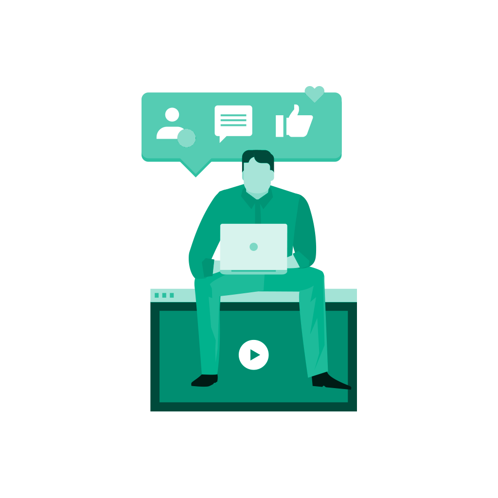 social proof illustration icon — man sitting on monitor with computer