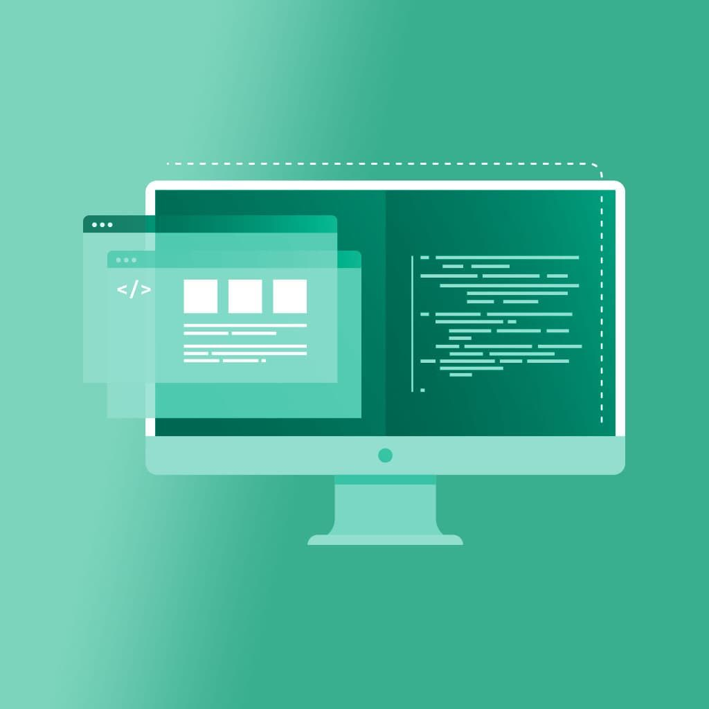 Computer monitor illustration with code — google search console icon