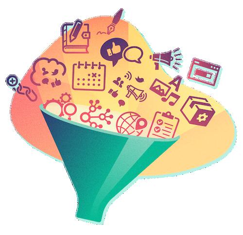 marketing icon & funnel illustration