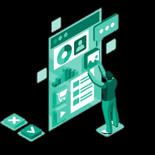 Isometric illustration webinar graphic icon image